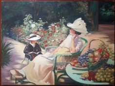 Reading at the park, twentieth time.  Impressionist painting depicting in a park an elegant and a child in a moment of reading.  Oil on canvas, signed lower left (to decipher).  In good condition (see photos).  Format: 12 Paysage (12P) standard soit 61 cm x 46 cm (24.0 in x 18.1 in).