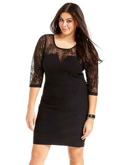 Club L Plus Size Split Sleeve Dress with Sequin Skirt $51.76 ...