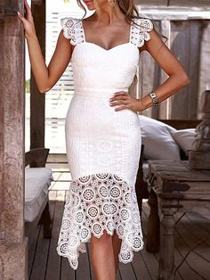 Fashion 2019 Women Hollow Out Crochet Bodycon Lace Dress Solid Sleeveless Knee-Length Dress V-Neck Elegant Summer Party Dress Bodycon Dress Outfit, Bodycon Dress Parties, Dress Outfits, Dress Casual, Dress Formal, Dress Shoes, Cheap Dresses, Sexy Dresses, Evening Dresses