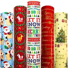 Christmas Wrapping Paper 5 Roll 30 Inch X 10 Feet Per Roll Design for Xmas Holiday Hanukkah Red Blue Yellow White Mer... Xmas Wrapping Paper, Christmas Gift Wrapping, Creative Gift Wrapping, Creative Gifts, Red And Blue, Blue Yellow, Red Green, American Greetings, Xmas Holidays