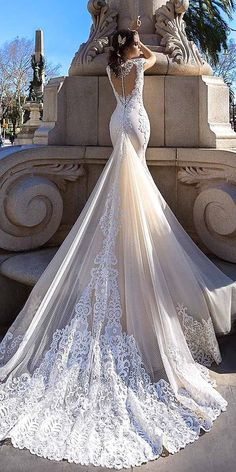 White Wedding Dress with Train