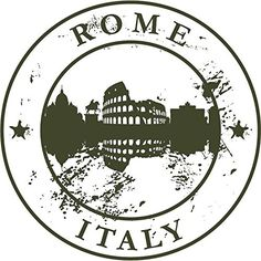 Rome Italy Europe Travel Retro Rubber Stamp Sticker Decal Design X Round Stickers, Cute Stickers, Printable Stickers, Travel Stamp, Circle Game, Postage Stamp Art, Passport Stamps, Aesthetic Stickers, Custom Stamps