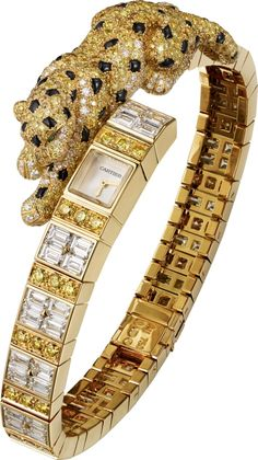 "CARTIER. High Jewellery ""Panthère Asymétrique"" visible hour watch, mechanical movement with manual winding, calibre 101. 18K yellow gold case and bracelet set with 64 baguette-cut diamonds totalling 8.10cts, 397 brilliant-cut yellow diamonds totalling 3.2"