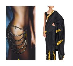 Black Masba Gupta sari and Amrapali waist chain.