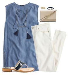 """Watching Fixer Upper"" by sc-prep-girl ❤ liked on Polyvore featuring J.Crew, Jack Rogers, My Name Necklace, Kate Spade and Kiel James Patrick"