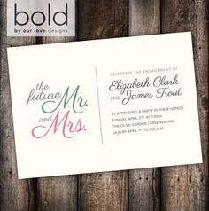 Mr & Mrs Engagement Party Invitation Green by ByOurLoveDesigns, $11.00