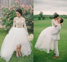 Two Pieces Wedding Dresses 2016 Long Sleeves Lace Crop Top Appliques Tulle Wedding Gowns Hi-Lo Beach Simple Romance Bridal Dresses Online with $117.28/Piece on Xzy1984316's Store | DHgate.com
