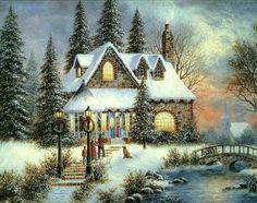Beautiful winter Christmas scene