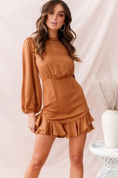 Bow back dresses - Sydney Double Bow Back Dress Copper – Bow back dresses Bow Back Dresses, Dress With Bow, Cute Dresses, Casual Dresses, Short Sleeve Dresses, Dresses Dresses, Dress Outfits, Copper Dress, Fashion Outfits
