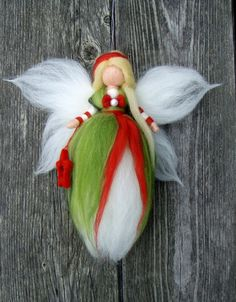 Needle Felted Wool Fairy Christmas Angel X-MAS Ornament Faeries Doll Soft Sculpture Wool Craft Waldorf Inspired