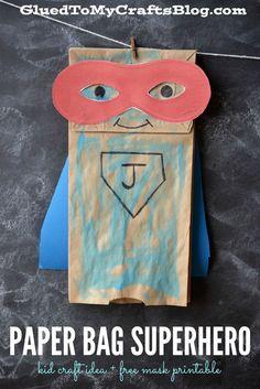 Paper Bag Superhero - Kid Craft Idea + Free Mask Printable fun kids crafts, kid ideas, #kids #diy kids diy ideas