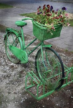 brand new 5074e 3b6aa Vintage Bicycle Painted Green stock photo, Painted Old Bicycle with a  Basket Full of Flowers by Karen Koomans