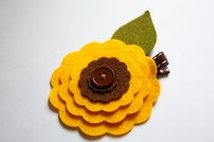 wool sunflower hair clip