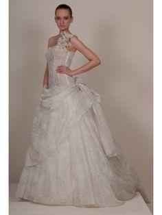 Lace Ball Gown Ruffled One-Shoulder Asymmetrical Neckline Boned Bodice Wedding Dress