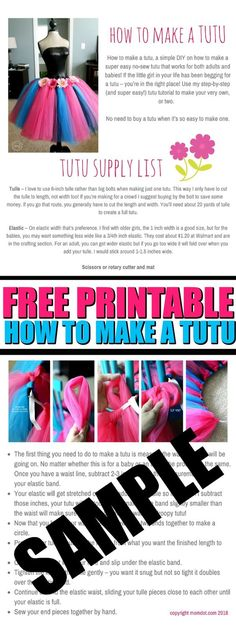 how to make a tutu free printable guide for a no sew tutu skirt DIY at home #tutu #howtomake #diy #projects #tulle #tulleskirt #crafts #crafting #girlythings #printable