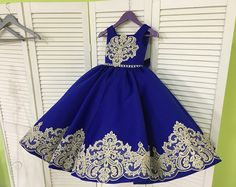 Royal Blue Flower Girl Dress - Birthday Wedding party Bridesmaid Holiday Royal Blue Tulle Lace Flower Girl Dress 16-1586