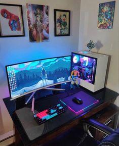 Gamer Setup, Gaming Room Setup, Pc Setup, Computer Desk Setup, Bedroom Setup, Video Game Rooms, Gamer Room, Pc Gamer, Home Office Setup