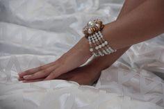 Bridal flower bracelet Beaded white and gold by NevelynkaNasha, $34.00