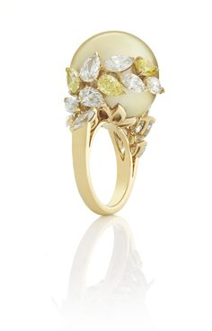 Mikimoto pearl and diamond ring