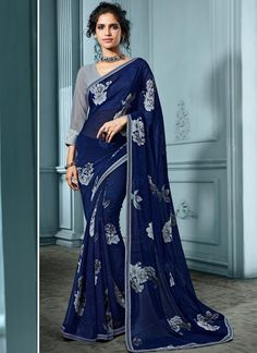 Buy Navy Blue Georgette Printed Saree Online
