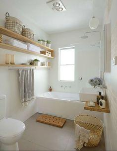 Estantes para decorar un baño con poco dinero