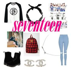 """""""Seventeen"""" by bts-got7-block-b ❤ liked on Polyvore featuring beauty, LØMO, Topshop, Dr. Martens and Chanel"""