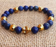 Men's Bracelet Men Skull Bracelet Golden Hematite Skull Tribal Men Steampunk Day Of The Dead Navy Blue Lapis Lazuli Bracelet Gifts For Him