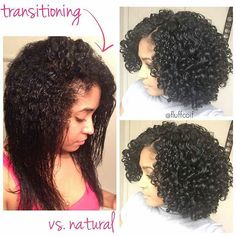 """""""Gorg from @fluffcoif -  Transitioning wash-and-go versus a fully natural wash-and-go. What a difference!! Just wanted to post this and hopefully give some of you transitioners a little inspiration to keep on going!! Stay strong, my friends! Don't be discouraged. I transitioned 18 months. If I can do it, so can you!! #Regrann"""" Photo taken by @naturallyshesdope on Instagram, pinned via the InstaPin iOS App! http://www.instapinapp.com (09/09/2015)"""