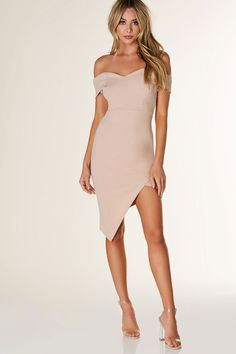 Chic off shoulder midi dress with sweetheart neckline. Envelope style asymmetrical hem with bodycon fit.