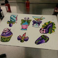 Watercolor girly tattoo sheet.... by sanae garcia Instagram.com/sanae_tattoos........I Think I Need them all!