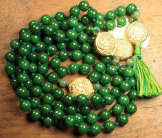 Jade Prayer Beads Deep Green Nephrite Gold Accents by QuietMind, $165.00