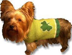 (6) Name: 'Knitting : SHAMROCKIN' St. Patricks Day DOG SWEATER