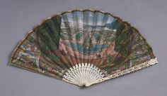 Fan  Artist/maker unknown, French  Geography: Made in France, Europe Date: 1680-90 Medium: Paper leaf, engraved, overpainted in gouache, and gilded; carved and pierced ivory sticks and guards Dimensions: 12 11/16 x 24 inches (32.3 x 61 cm) Accession Number: 1899-770