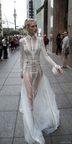 inbal dror 2016 v neck button collar illusion long sleeve lace fit flare wedding dress style 10 mv