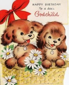 Puppies In A Basket Birthday Card For Godchild