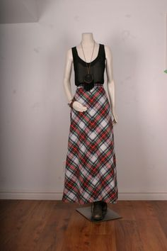 Maxi skirt gypsy chequered red white green plaid by sparrowlyn, $40.00