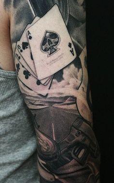 Dead mans hand tattoo, ace of spades tattoo, rock n roll tattoo, spade Map Tattoos, Sleeve Tattoos, Cool Tattoos, Tatoos, Tattoo Sleeves, Skull Tattoos, Dead Mans Hand Tattoo, Tattoo Hand, Rock N Roll Tattoo