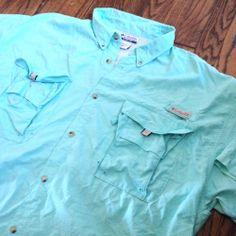 f9b3d4a461da Sold --  Columbia PFG UPF 30+ Nylon Light Green Vented Fishing Shirt - Mens  3XL XXXL