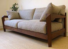 Authemticity-D Type walnut Sofa Simple Furniture, Ikea Furniture, Furniture Styles, Furniture Design, Wooden Sofa Set Designs, Living Room Sofa Design, Wood Sofa, Diy Sofa, Sofa Upholstery