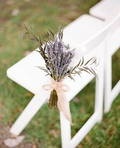 Lavender Ceremony Aisle Markers | Cassidy Carson Photography | blog.theknot.com