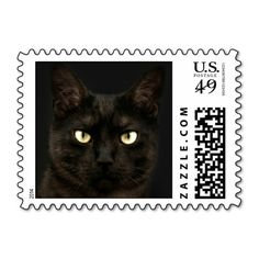 Spooky black cat postage stamps
