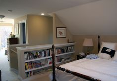 The two small bedrooms in the upper level were combined to provide a master suite with a bathroom, sitting area and laundry.