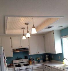 Gorgeous Kitchen Fluorescent Light Box Remodel With Wood Beadboard Modern Lighting