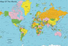 Classic Colors World Political Map Wall Mural - World Map Wallpaper - Peel & Stick Fabric - Easy Installation - Updated Political Map New World Map, World Map With Countries, World Map Mural, World Map Wallpaper, Modern Wallpaper, Hd Wallpaper, Free Printable World Map, Printable Maps, World Geography Map