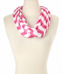Love this Hot Pink Jersey Knit Chevron Infinity Scarf by Polka Dotsy on #zulily! #zulilyfinds