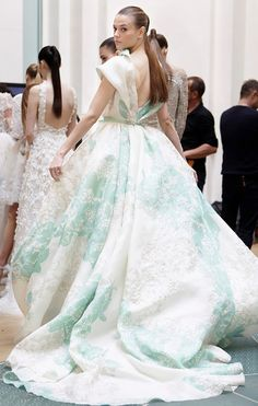 Aqua & white ball gown by Elie Saab.