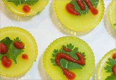 Sriracha jello shot: pineapple & lime gelatins, coconut milk, and vietnamese pepper sauce.  Intrigued!  http://www.boston.com/lifestyle/food/gallery/jelloshotsatstardom?pg=9