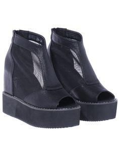 Black Zipper Platform Peep Toe Boots 36.67
