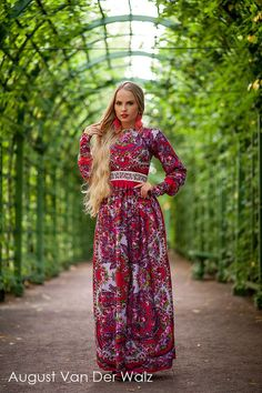 "Designer womens dresses Red summer #dress MAXI with exclusive print. Special occasion womens long dress, bohemian.   Floral Maxi dress with long sleeve  from my collection  ""Empress""  Exclusive Rus... #dresses #clothing #fashion #eveningdress"
