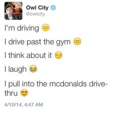 He exercises like we exercise. | Community Post: 20 Reasons Owl City Is Basically Us